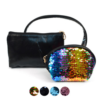 Ladies Clear & Sequins Makeup Bag 3pc Set Cosmetic & Toiletry Bags - LNCTB1709