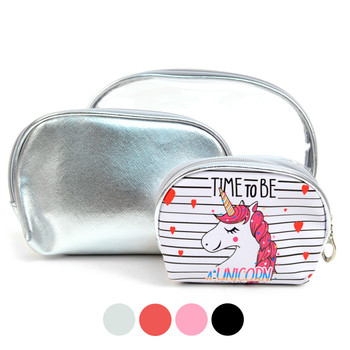 Ladies Unicorn Makeup Bag 3pc Set Cosmetic & Toiletry Bags - LNCTB1711