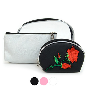 Ladies Flower Makeup Bag 3pc Set Cosmetic & Toiletry Bags - LNCTB1713