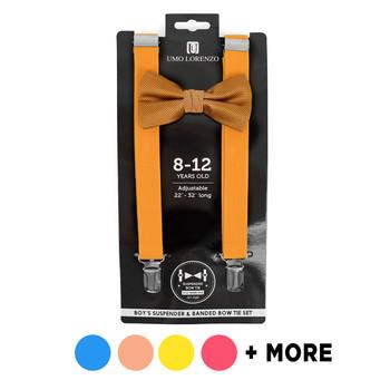 Boy's Solid Color Clip-on Suspenders & Bow Tie Set | BBTHSU6308