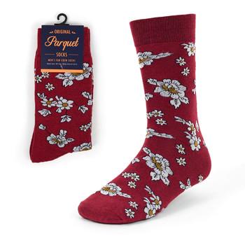Burgundy Floral Wedding Novelty Crew Socks - VC17125