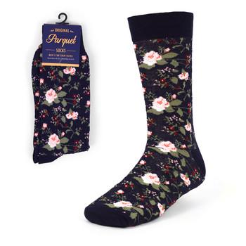 Navy Floral Wedding Novelty Crew Socks - VC17129