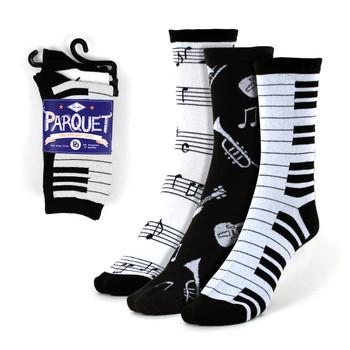 Assorted Pack (3 pairs/pack) Women's Music Theme Novelty Socks - 3PKSWCS-609