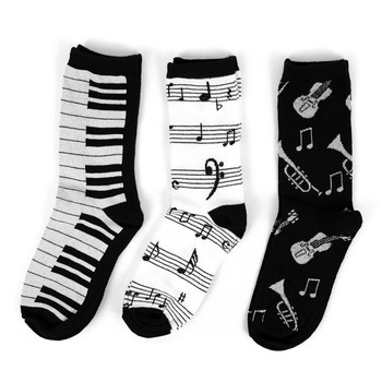 Assorted Pack (3 pairs/pack) Women's Music Theme Novelty Socks - 3PKSWCS-609
