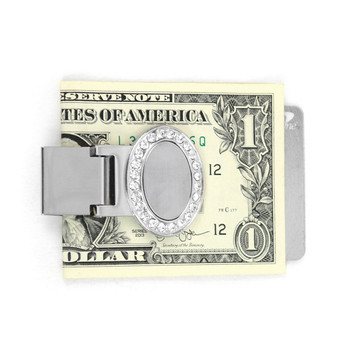 Fancy Zinc Alloy Money Clip with Decorative Rhinestone Face - MC-03