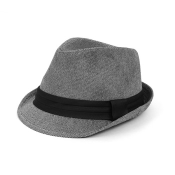 Fall/Winter Soft Pinstripe Trilby Fedora Hat with Black Band Trim H171224-GRAY