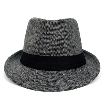 Fall/Winter Black & White Herringbone Trilby Fedora Hat with Black Band Trim - H1805256