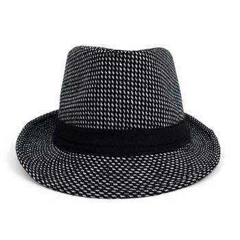 Fall/Winter Black Trilby Fedora Hat with White Dots & Black Band Trim - H1805259