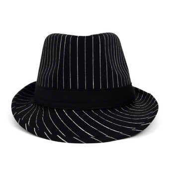 Fall/Winter Black Trilby Fedora Hat with White Pinstripes & Black Band Trim - H1805262