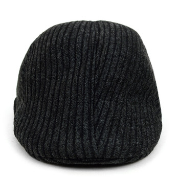 Fall/Winter Black & Charcoal  Striped Weave Pattern Ivy Hat - H1805052