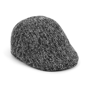 Fall/Winter Black & White Speckled Weave Textured Ivy Hat - H1805055
