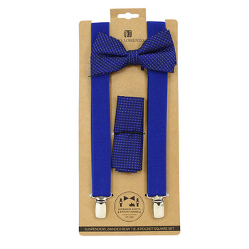 3pc Men's Blue Clip-on Suspenders, Dotted Bow Tie and Hanky Sets FYBTHSU-BL26