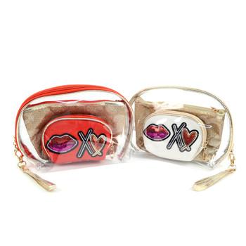 Ladies Clear & Kiss  Makeup Bag 3pc Set Cosmetic & Toiletry Bags - LNCTB1710