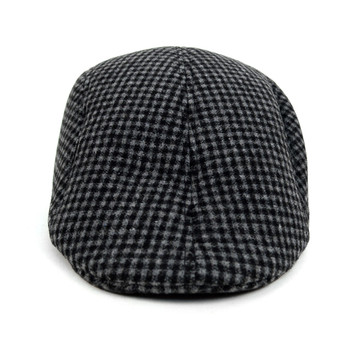 Fall/Winter Charcoal Checkered Pattern Ivy Hat - H1805007