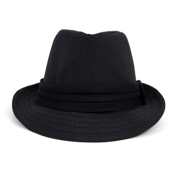Fall/Winter Solid Black Trilby Fedora Hat with Band Trim - H1805019
