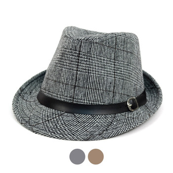 Fall/Winter Plaid Trilby Fedora Hat with Black Band Trim - H1805022