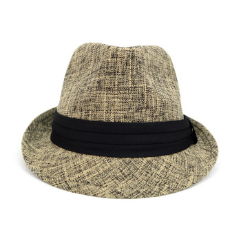 Fall/Winter Light Brown Trilby Fedora Hat with Black Band Trim - H1805023