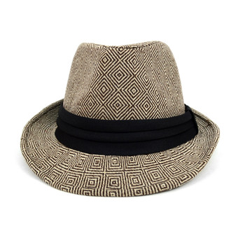 Fall/Winter Rhombus Geometric Trilby Fedora Hat with Black Band Trim - H1805025