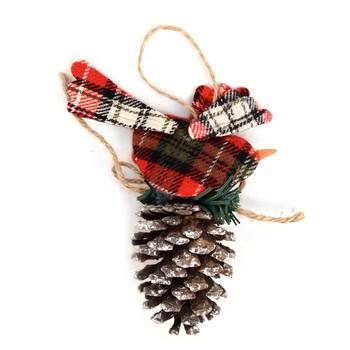 Pine Cone with Plaid Bird Christmas Ornament - XMAO5230