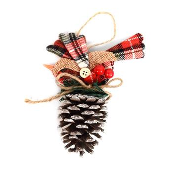 Pine Cone with Plaid Fabric Bird Christmas Ornament - XMAO5230