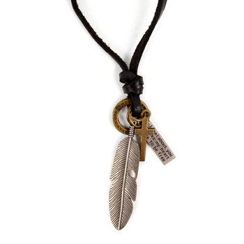 Vintage Unisex Feather Pendant Adjustable Leather Cord Necklace - NVNCK1006