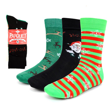 3 Pairs Pack  Men's Christmas Holidays Crew Socks - 3PK-MXMS1