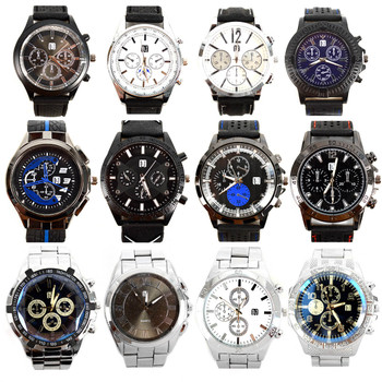 12pc Assorted Men's Casual Rubber Band & Stainless Steel Boxed Watches - MWT3200
