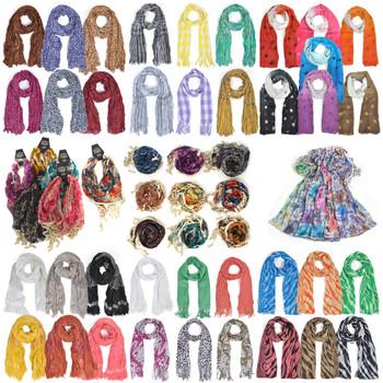 120pc Mixed Spring/Summer Viscose Fashion Scarves LVscarf-CO-120
