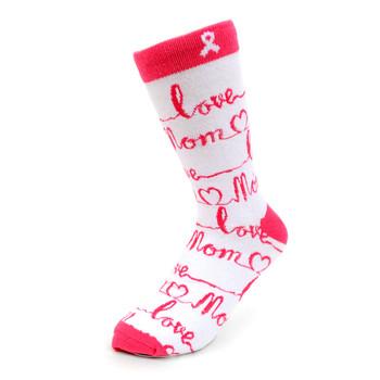 Women's Love Mom Novelty Socks - LNVS19344-WH
