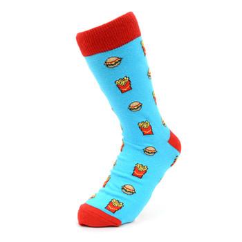 Women's Hamburger & French Fries Novelty Socks - LNVS19277-Blue
