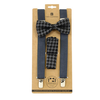 3pc Men's Charcoal Clip-on Suspenders, Dotted Squares Bow Tie & Hanky Sets FYBTHSU-CHAR16