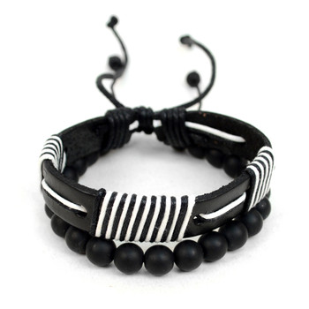 Genuine Leather & Natural Stone Two Pieces Bracelet Set for Men - 2BRCLT21