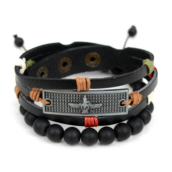 Genuine Leather & Natural Stone Two Pieces Bracelet Set for Men - 2BRCLT01