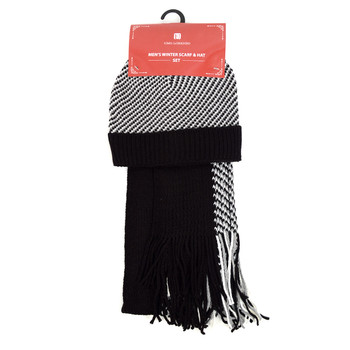 Men's Winter Knit Scarf and Hat Set - ASCS1002