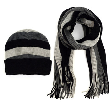 Men's Winter Knit Thick Striped Scarf and Hat Set - ASCS1007