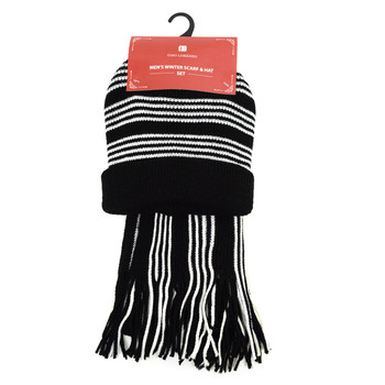 Men's Winter Knit Striped Scarf and Hat Set - ASCS1008