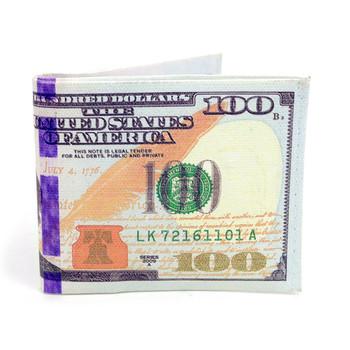 Bi-Fold $100 Dollars Bill Printed Men's Wallet - MLW5200