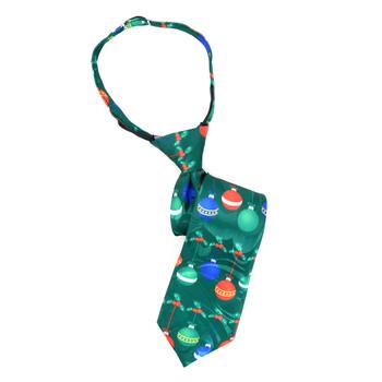Boy's Christmas Ball Green Zipper Tie - MPWZ-104