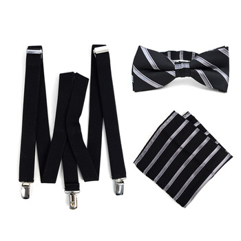 3pc Men's Black Clip-on Suspenders, Striped Bow Tie & Hanky Sets - FYBTHSU-BLK#3