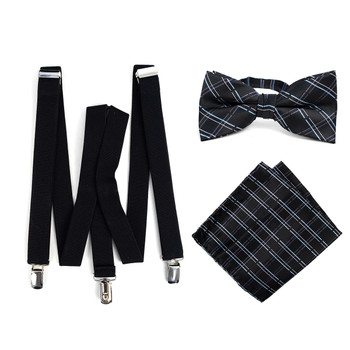 3pc Men's Black Clip-on Suspenders, Plaid Bow Tie & Hanky Sets - FYBTHSU-BLK#4