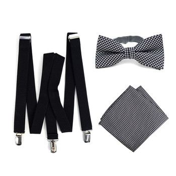 3pc Men's Black Clip-on Suspenders, Dots Bow Tie & Hanky Sets - FYBTHSU-BLK#5