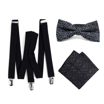 3pc Men's Black Clip-on Suspenders, Floral Bow Tie & Hanky Sets - FYBTHSU-BLK#6