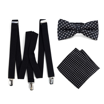3pc Men's Black Clip-on Suspenders, Dots Bow Tie & Hanky Sets - FYBTHSU-BLK#7