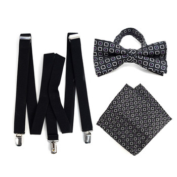 3pc Men's Black Clip-on Suspenders, Dots Bow Tie & Hanky Sets - FYBTHSU-BLK#8