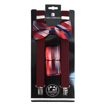 3pc Men's Burgundy Clip-on Suspenders, Striped Bow Tie & Hanky Sets - FYBTHSU-BUR#1