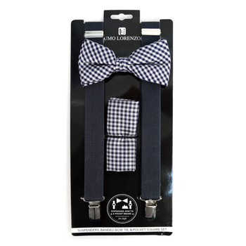 3pc Men's Charcoal Clip-on Suspenders, Checkered Bow Tie & Hanky Sets - FYBTHSU-CHAR#1