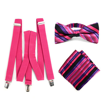 3pc Men's Fuchsia Clip-on Suspenders, Striped Bow Tie & Hanky Sets - FYBTHSU-FA#2