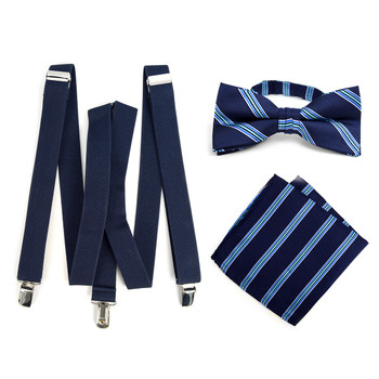 3pc Men's Navy Clip-on Suspenders, Striped Bow Tie & Hanky Sets - FYBTHSU-N.BL#2