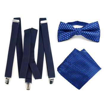 3pc Men's Navy Clip-on Suspenders, Dots Bow Tie & Hanky Sets - FYBTHSU-N.BL#4