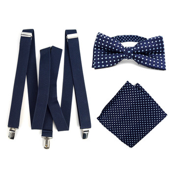 3pc Men's Navy Clip-on Suspenders, Dots Bow Tie & Hanky Sets - FYBTHSU-N.BL#5